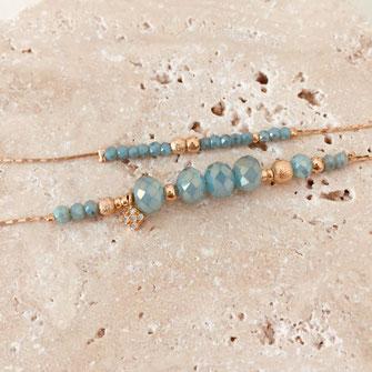 bracelet gwapita fin bijoux France creation finesse perles doré plaqué or bleu turquoise