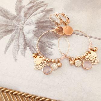 boucles d'oreilles noire gwapita belle grosse creole ronde breloque papille perles doré plaqué or bijoux earrings rose