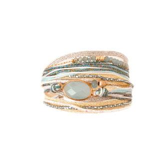 bracelet gwapita fin bijoux France creation PAOLA finesse perles doré plaqué or  multirangs tissus rubans cordons perles pierre double tour caraïbe turquoise bleu