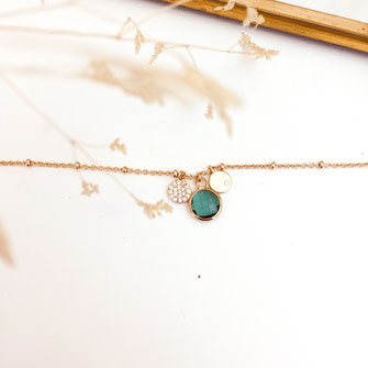bracelet doré plaqué or fin Gwapita bijoux créatrice française france vert Igor fin