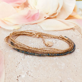 Gwapita léo bracelet vert ruban doré perles vertes bijoux
