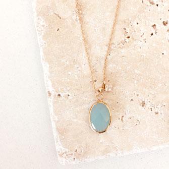 collier choker necklace gwapita bijoux français france createur fin doré plaqué or bleu turquoise caraïbe  perles oval