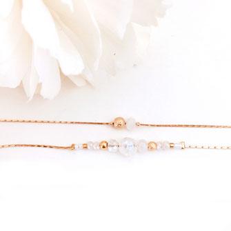 gwapita mila blanc braclet fin doré femme or perles