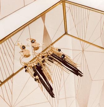 SAMBA boucles d'oreilles noir plaqué or doré gwapita créatrice creation longues belles earrings design