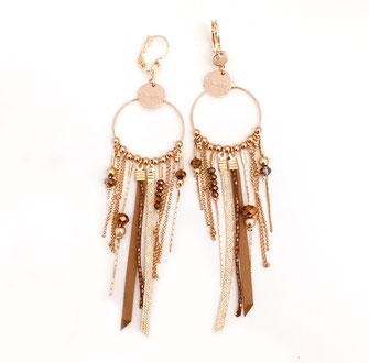 boucles d'oreilles gwapita doré plaqué or creatrice ronde  samba longue chaine rubans pendantes creation iconique