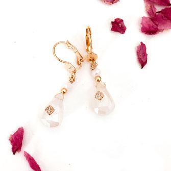 gwapita boucles d'oreilles bijoux création doré  pierre de lune blanc goutte