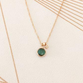 collier choker necklace gwapita bijoux français france createur fin doré plaqué or vert pierre couleur