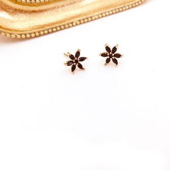 boucles d'oreilles gwapita doré plaqué or creatrice puce fleur noir zirconium boucles mini flowers