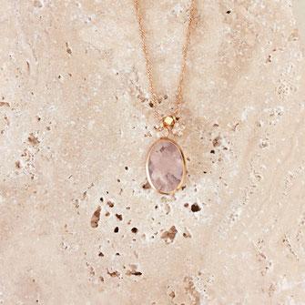 collier choker necklace gwapita bijoux français france createur fin doré plaqué or  rose opal  perles