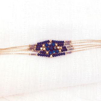 gwapita bracelet indigo perles chaines multi rangs doré diva gwapita