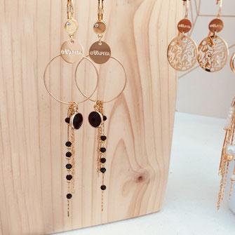 gwapita boucles d'oreilles bijoux création doré  CLYDE longue boucle noir