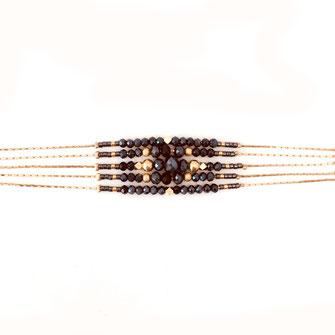 bracelet Jonathan perles multirangs multi chaines perles gwapita fin doré plaqué or