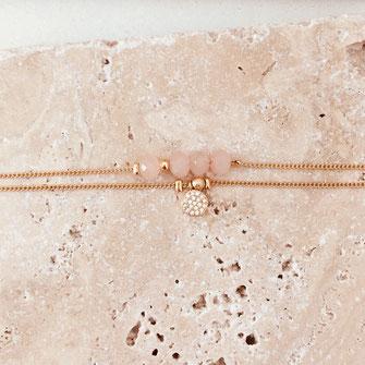 bracelet gwapita fin bijoux France creation finesse perles doré plaqué or Brooklyn rose poudré brooklyn