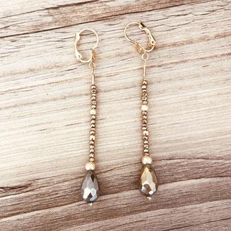 boucles d'oreilles doré fin création créateur femme bijoux gwapita pyrite longue perles