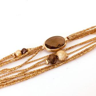 bracelet doré plaqué or fin Gwapita bijoux créatrice française france marron Jules pierre multi liens rubans