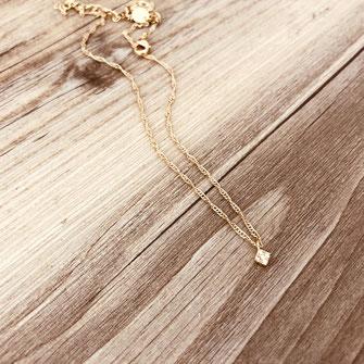 collier choker necklace gwapita bijoux français france createur fin doré plaqué or losange zirconium