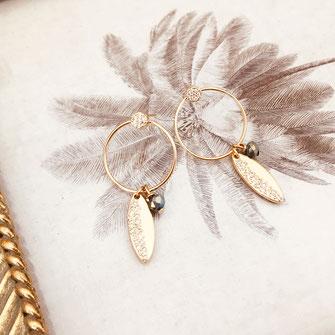 bijoux boucles d'oreilles anneaux créoles vert rondes feuille fine doré gwapita