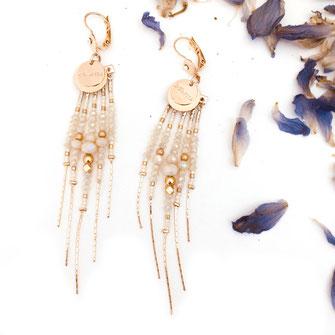 boucles d'oreilles DIVA gwapita crème beige chaines perles chic doré or