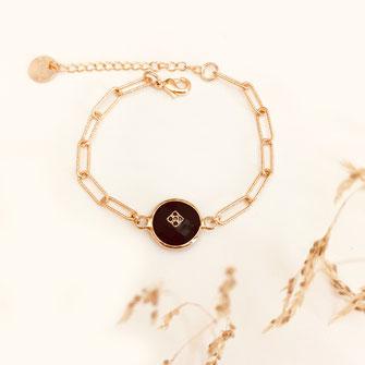 bracelet doré plaqué or fin Gwapita bijoux créatrice française france célestin noir