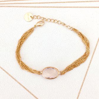 jonc bracelet gwapita fin doré vintage zirconium pierre blanche jewelry rose