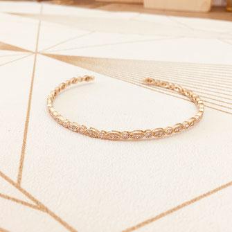 bracelet doré plaqué or fin Gwapita bijoux créatrice française france jonc amandine zirconium brillants rétro vintage