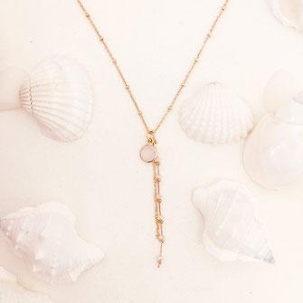 collier choker necklace gwapita bijoux français france createur fin doré plaqué or blanc opal chaines perles