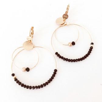 boucles d'oreilles Olivia rose poudré creoles anneaux deux doubles doré perles gwapita noir