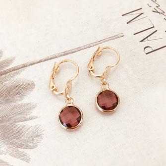 bijoux boucles d'oreilles anneaux créoles vert rondes grande fine doré gwapita  Paloma mini petites boucles violette