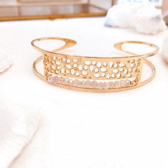 bracelet manchette rose blanc clair perles dentelle doré gwapita bijoux femme