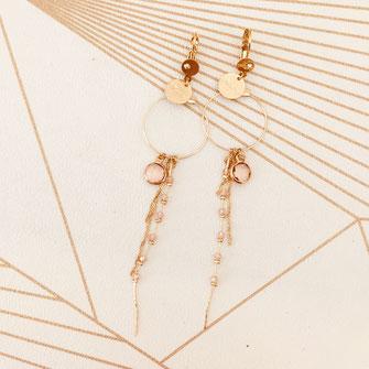 boucles d'oreilles longue chaine perles doré fin création créateur femme bijoux gwapita Clyde