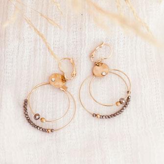 gwapita olivia creole double doré perles femme fine essentielle iconiques
