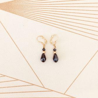 bijoux boucles d'oreilles anneaux créoles montana bleu gouttes petites doré gwapita