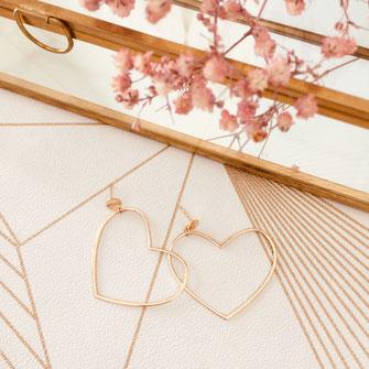boucles d'oreilles gwapita doré plaqué or creatrice ronde  coeur fin