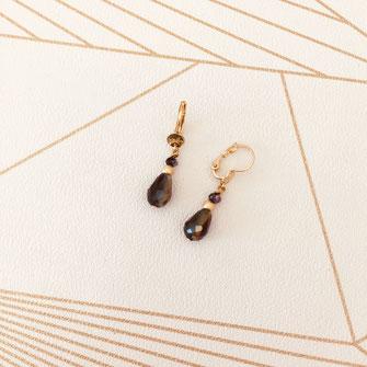 boucles d'oreilles Monica dentelle feuille coeur doré fin création créateur femme bijoux gwapita new noir france