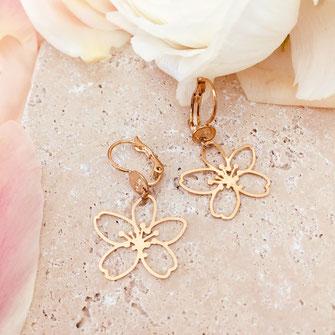 boucles d'oreilles FLEUR gwapita flower doré fin