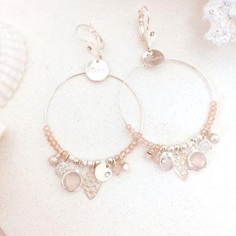 Sasha rose opal gwapita boucles d'oreilles perles bijoux argent