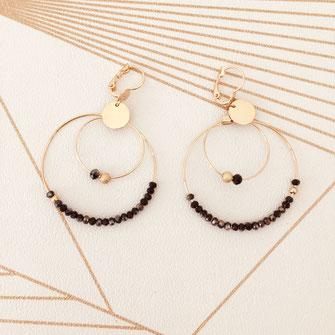 boucles d'oreilles Earrings Jewel jewelry gwapita fin doré vintage zirconium pierre blanche jewelry metalic collier