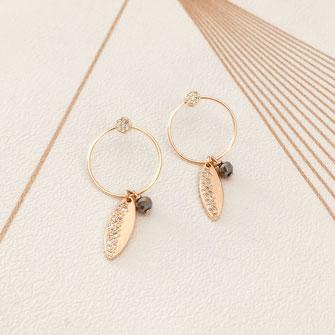 boucles d'oreilles Monica dentelle feuille coeur doré fin création créateur femme bijoux gwapita zirconium feuille anneau créoles