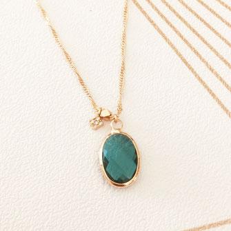 collier choker necklace gwapita bijoux français france createur fin doré plaqué or oval pierre vert