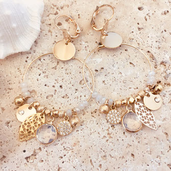 gwapita iconiques blanc earrings boucles d'oreille creole anneau breloques pierres perles doré or
