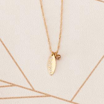 collier choker necklace gwapita bijoux français france createur fin doré plaqué or feuille pyrite perle