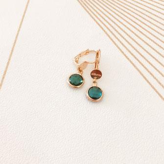 paloma boucles d'oreilles verte vert green bijoux gwapita doré earrings jewelry jewel