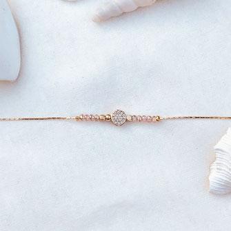 bracelet gwapita fin bijoux France creation finesse perles doré plaqué or  Harry rose fin