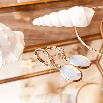 gwapita boucles d'oreilles bijoux création doré  giorgia blanc opal