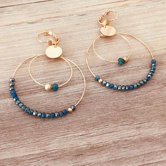 boucles d'oreilles Olivia  créoles anneaux deux doubles doré perles gwapita vert tropique