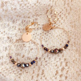 boucles Gwapita Marius metalic fin perles doré metalic