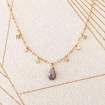 collier choker necklace gwapita bijoux français france createur fin doré plaqué or labradorite pierre fine grise