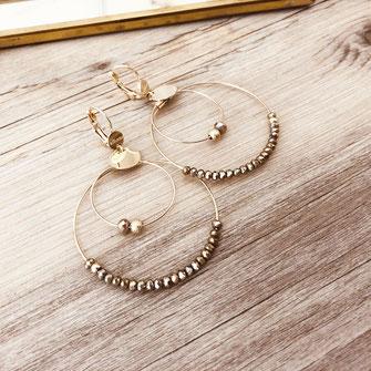 boucles d'oreilles Olivia  créoles anneaux deux doubles doré perles gwapita pyrite