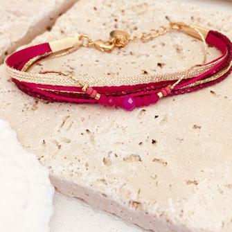 bracelet gwapita bijoux fynn coloré fuschia rose doré or fin femme