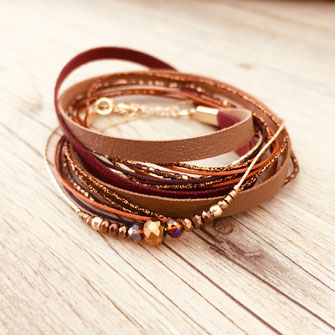 bracelet doré plaqué or fin Gwapita bijoux créatrice française france terracotta Fernando manchette rubans lient multi tours cordons